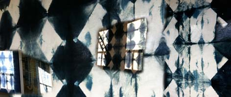 image of block resist shibori, blue and white volcano diamonds
